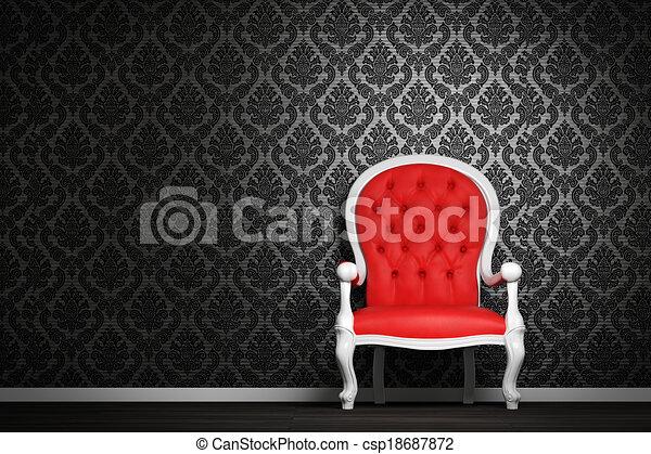 Interior moderno con sillón rojo - csp18687872