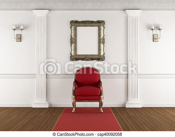 Interior clásico blanco con sillón rojo - csp40092058