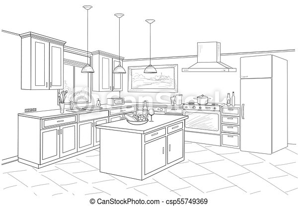 Interior sketch of kitchen room outline blueprint design of kitchen interior sketch of kitchen room outline blueprint design of kitchen with modern furniture and island malvernweather Choice Image