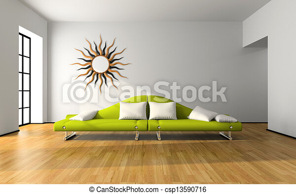 interior, sofá, modernos, verde - csp13590716