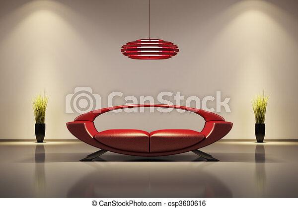 Interior con sofá rojo 3d - csp3600616