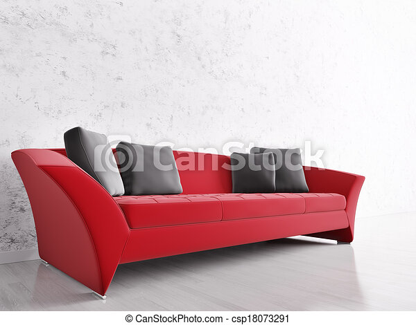 Interior con sofá rojo - csp18073291
