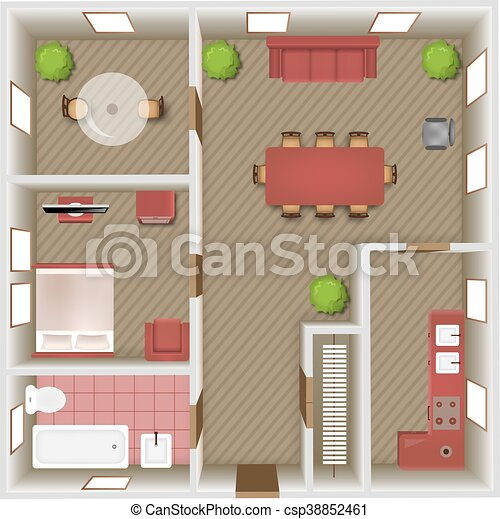 Interior Top View Living Room Bedroom And Bathroom