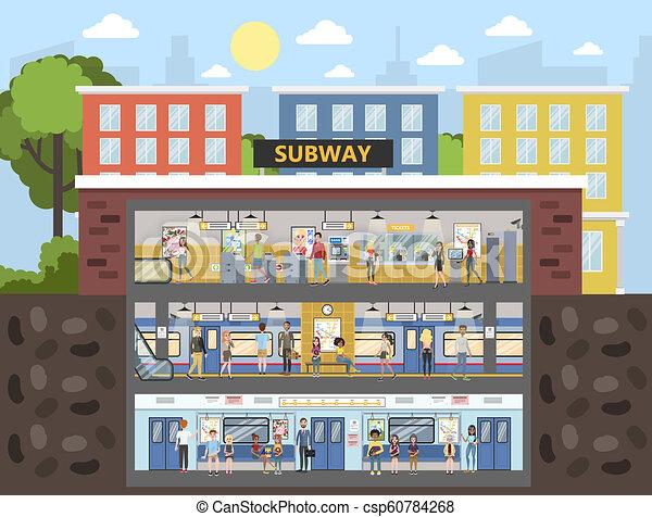 interior, trem ferrovia, metrô, ilustração - csp60784268