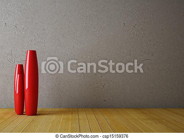 Interior vacío con jarrón rojo - csp15159376