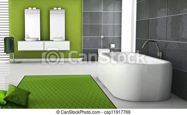 Interior, verde, cuarto de baño, diseño. Cuarto de baño ...