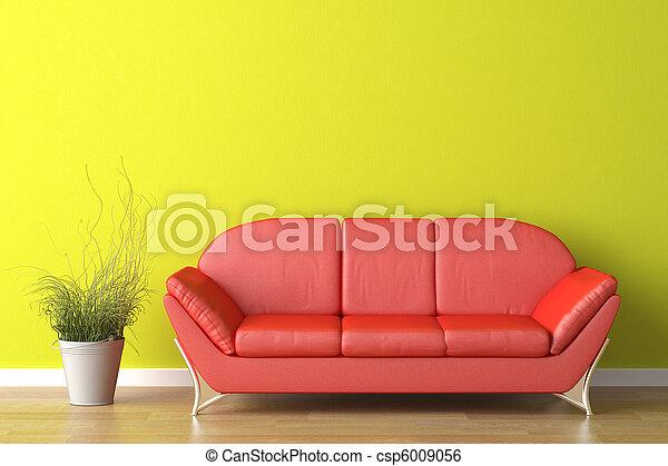 Diseño de interiores sofá rojo en verde - csp6009056