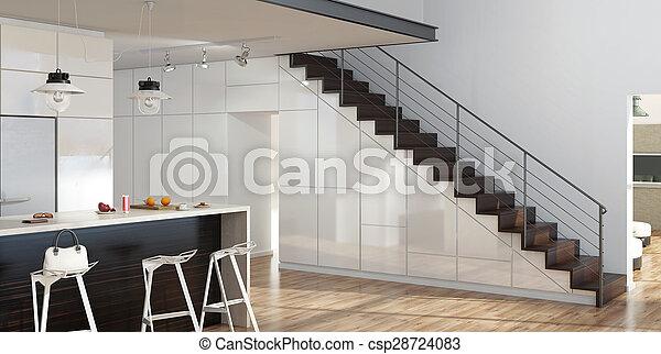 Las escaleras de la sala de estar modernas - csp28724083