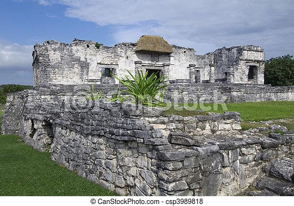 Interior View of Palace Ruins at Tulum - csp3989818