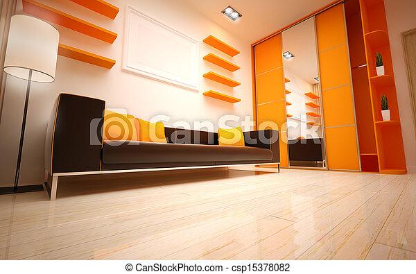 interior, vivendo, quarto moderno, design. - csp15378082