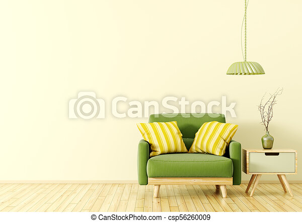 Interior With Armchair And Side Table 3d Rendering Interior