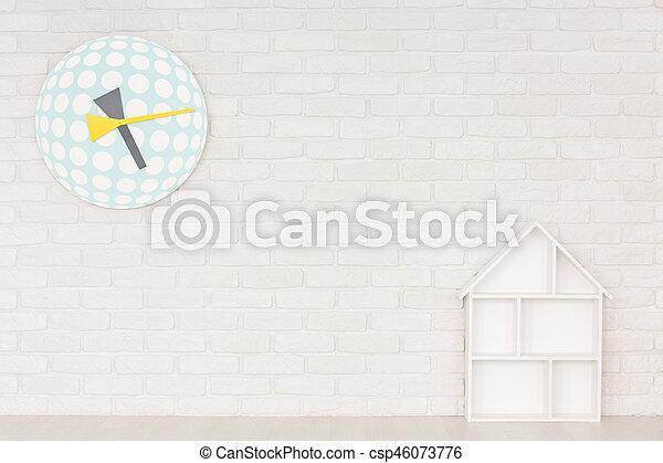 Interior with doll house wall shelf interior with white doll house interior with doll house wall shelf csp46073776 ccuart Images