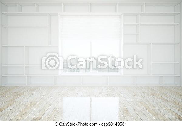 Interior With Empty Bookshelves