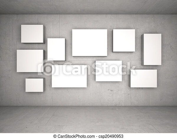 Interior with empty frames on wall.