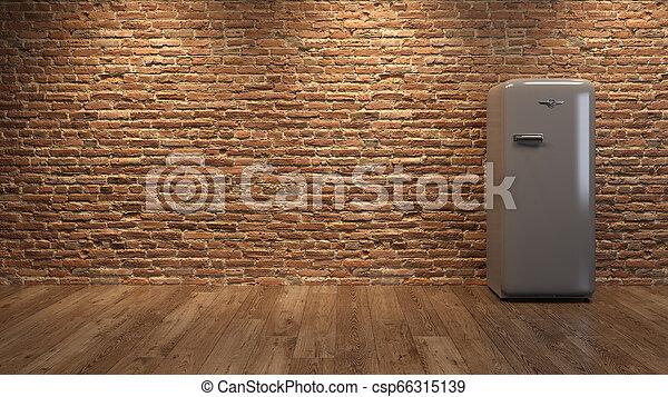 Interior with grey fridge and brick wall 3D illustration - csp66315139