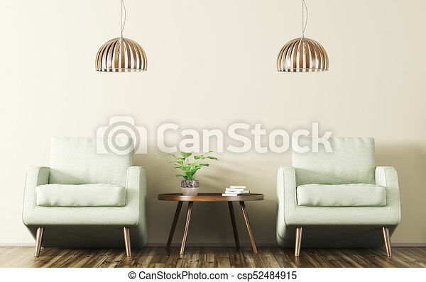Interior With Two Armchairs And Coffee Table 3d Rendering   Csp52484915