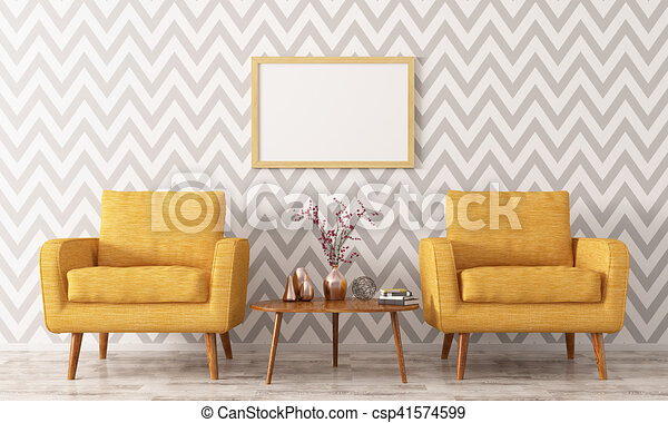 Beau Interior With Two Armchairs And Coffee Table 3d Rendering   Csp41574599