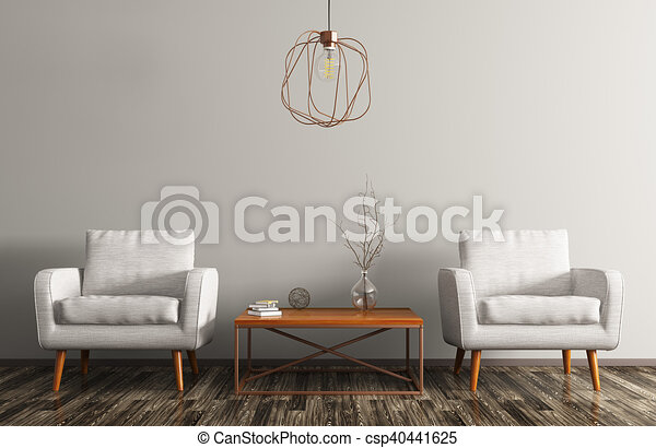 Interior With Two Armchairs Coffee Table And Lamp 3d Rendering