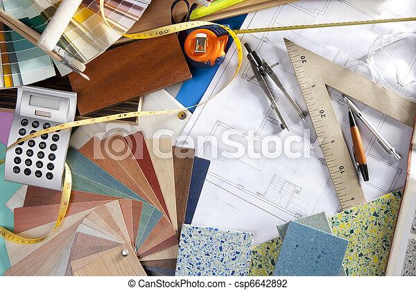 Lugar de trabajo de diseñador de interiores de arquitectura - csp6642892