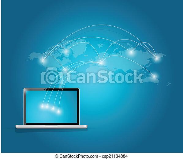 internacional, conexão, tecnologia computador - csp21134884