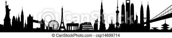 Vector de horizonte internacional - csp14699714