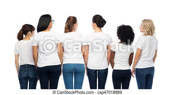 a3de99916f7 Internacional, grupo, espalda, mujeres. Diversidad, diferente ...