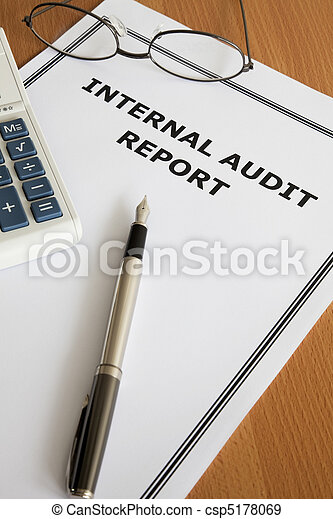 Image Of An Internal Audit Report On An Office Table Stock