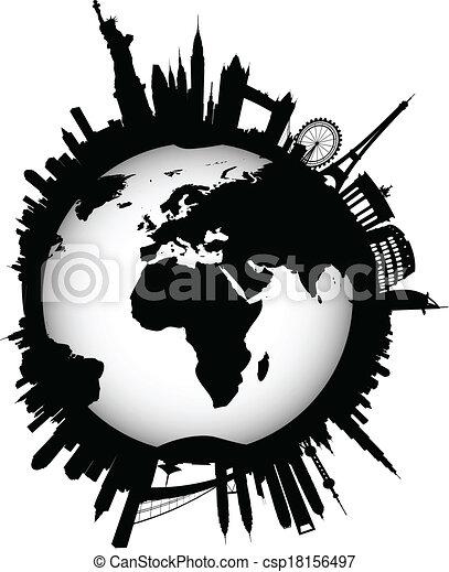 internationaal, skyline, globe, wereld - csp18156497