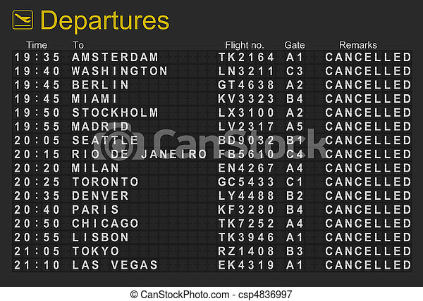 International airport departures board with all flights cancelled - csp4836997