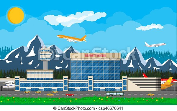 International airport in mountains concept. - csp46670641