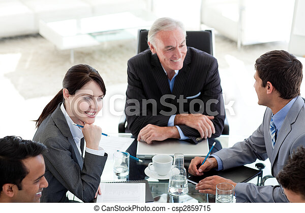 International business people discussing a business plan - csp2859715
