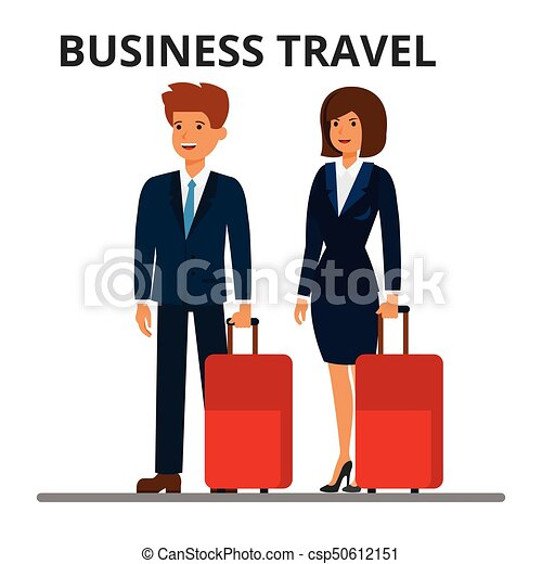 International Business Travel Businessman And Businesswoman With Suitcase Passengers Luggage