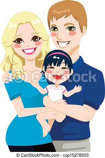 international, couple, mariés, adoption - csp15276503