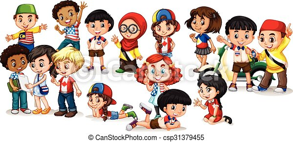international, groupe, enfants - csp31379455