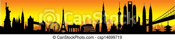 international, horizon, coucher soleil - csp14699719
