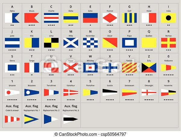 international maritime signal nautical flags, morse alphabet.