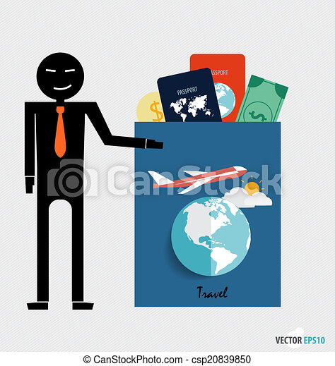 International Passport And Elements Of Travel Vector Illustration