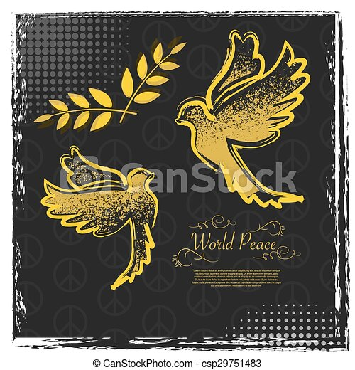 International Peace Day grunge poster design - csp29751483
