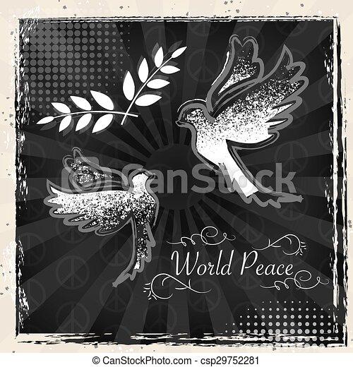 International Peace Day grunge poster design - csp29752281