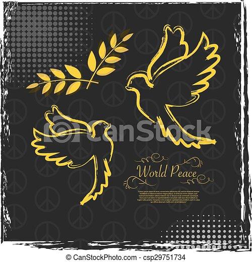 International Peace Day grunge poster design - csp29751734