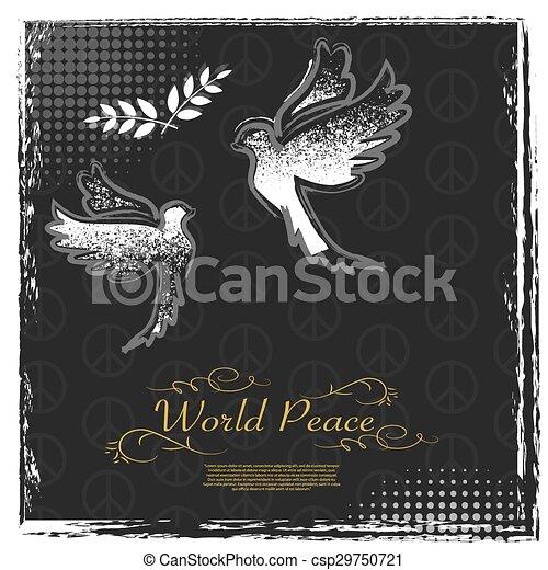 International Peace Day grunge poster design - csp29750721