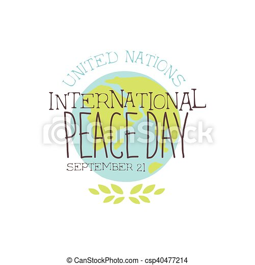 International peace day label designs in pastel colors. vector logo ...