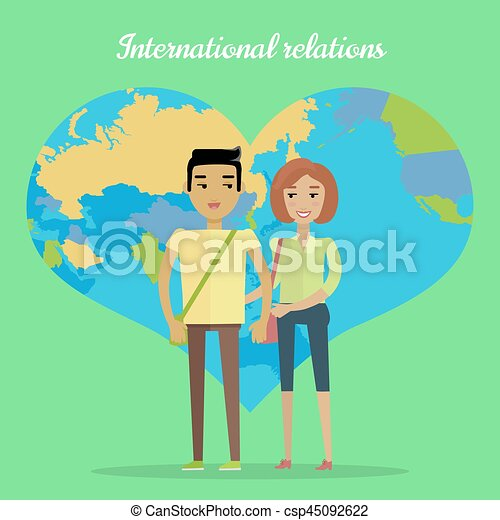 International Relations Flat Design Vector Concept - csp45092622