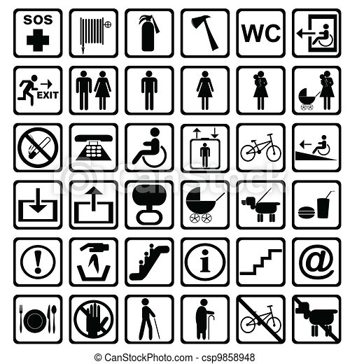 International service signs. All objects are isolated and grouped. - csp9858948