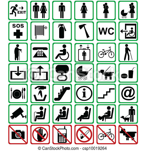 International signs used in transportation means - csp10019264