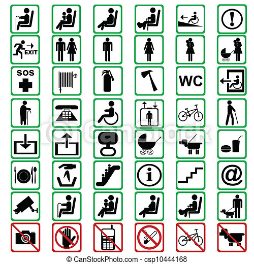 International signs used in tranportation means - csp10444168