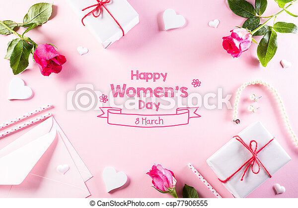 International Women's Day concept. Woman lace lingerie jewelry perfume present with pink roses on bright pink pastel background. flat lay, March 8. - csp77906555