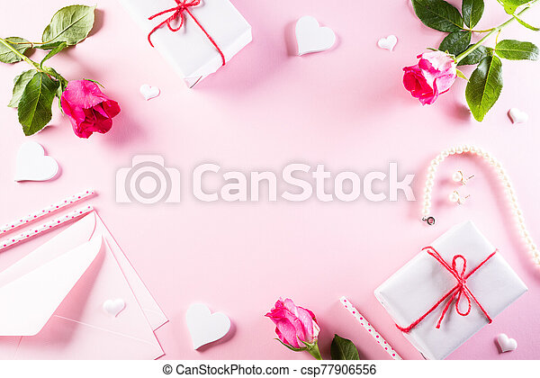 International Women's Day concept. Woman lace lingerie jewelry perfume present with pink roses on bright pink pastel background. flat lay, March 8. - csp77906556
