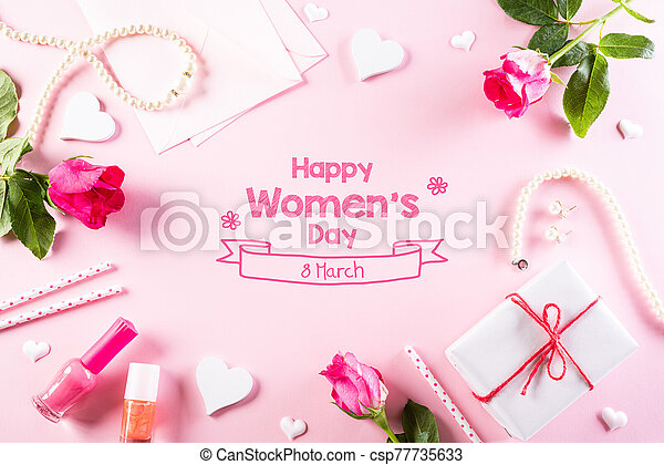 International Women's Day concept. Woman lace lingerie jewelry perfume present with pink roses on bright pink pastel background. flat lay, March 8. - csp77735633