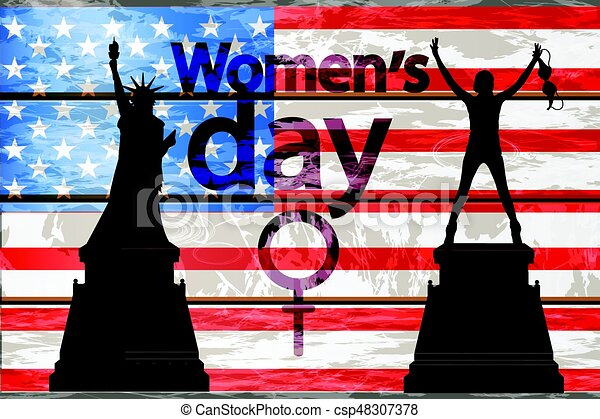 International Womens Day Girl Silhouette And Statue Of Freedom